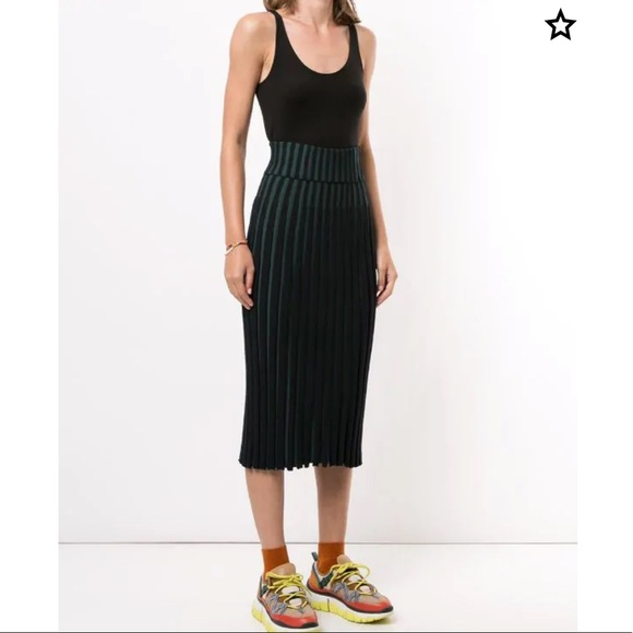 Kenzo Two Tone Pleated Midi Skirt Size Small